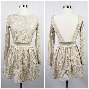 Zara Cream Long Sleeve Lace Mini Dress